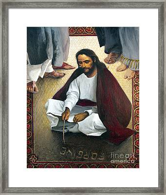 Jesus Writing In The Sand - Lgjws Framed Print by Louis Glanzman