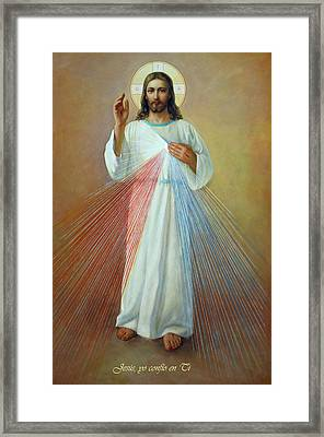 Jesus Yo Confio En Ti - Divina Misericordia Framed Print