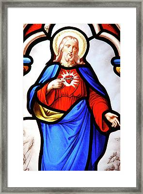 Jesus's Sacred Heart Framed Print by Unknown