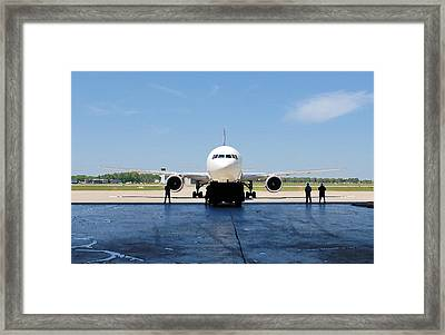 Jet Aircraft Rendering. Framed Print by Robert Ponzoni
