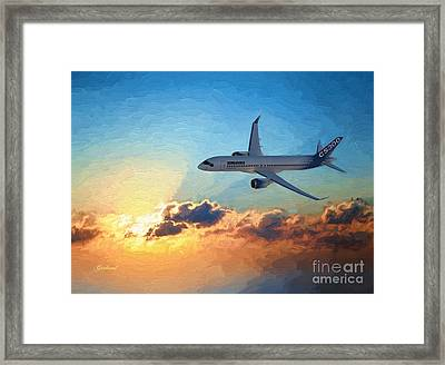 Jet In The Sunset Framed Print by Garland Johnson