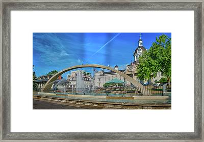 Jet Over City Hall Framed Print