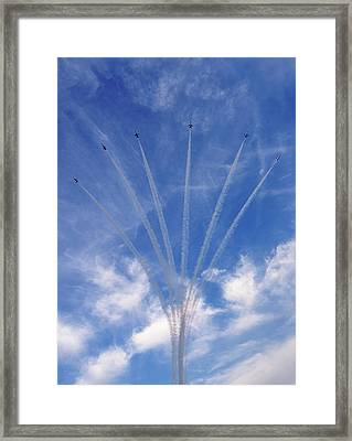 Framed Print featuring the photograph Jet Planes Formation In Sky by Pradeep Raja Prints