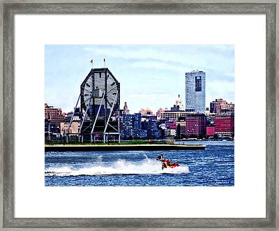 Jet Skiing By Colgate Clock Framed Print by Susan Savad