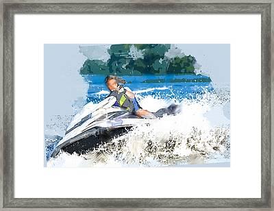 Jet Skiing In The Lake Framed Print