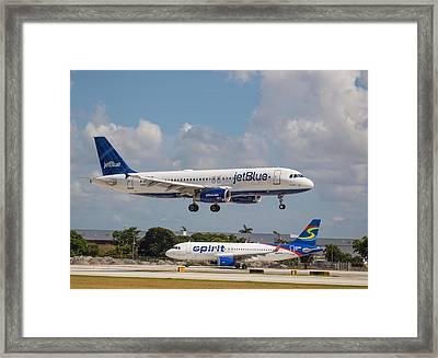 Jetblue Over Spirit Air Framed Print