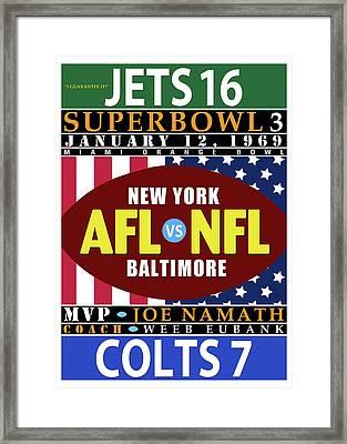 Jets 16 Colts 7 Super Bowl 3 Framed Print