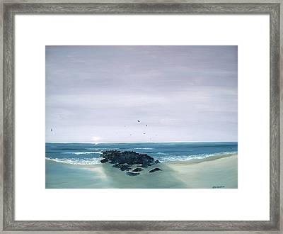 Framed Print featuring the painting Jetty At Dawn by Ken Ahlering