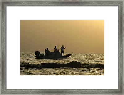 Jetty Fishing In Galveston Bay Framed Print by Robert Anschutz