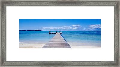 Jetty On The Beach, Mauritius Framed Print