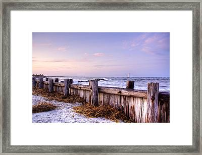 Jetty Sunset Framed Print by Drew Castelhano