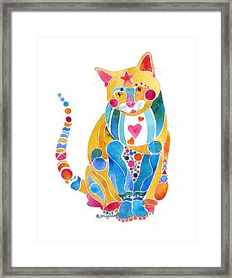 Jewel Colors Cat With Hearts N Stars Framed Print by Jo Lynch