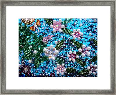 Jeweled Beadwork - Spring Garden 2 Framed Print by Sofia Metal Queen