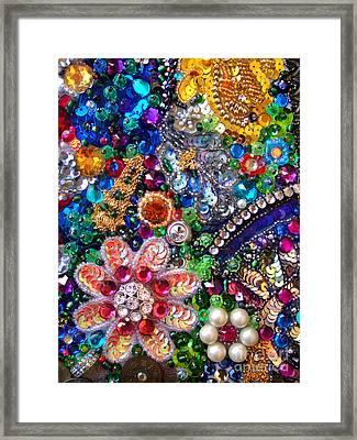 Jeweled Beadwork - Summer Garden 1 Framed Print by Sofia Metal Queen