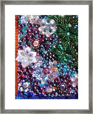 Jeweled Beadwork - Summer Garden 5 Framed Print by Sofia Metal Queen