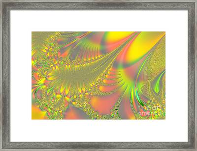 Jeweled Feather Framed Print by Linda Phelps