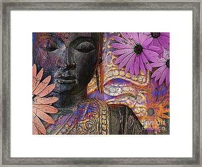 Jewels Of Wisdom - Buddha Floral Artwork Framed Print by Christopher Beikmann