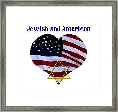 Jewish And American Flag With Star Of David Framed Print by Rose Santuci-Sofranko