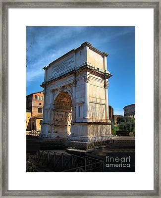 Jewish Arch - Arch Of Titus - Rome - Italy Framed Print by Al Bourassa