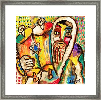 Jewish Celebrations Rejoicing In The Torah Framed Print by Sandra Silberzweig