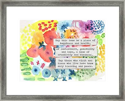 Jewish Home Blessing- Floral Watercolor Framed Print by Linda Woods