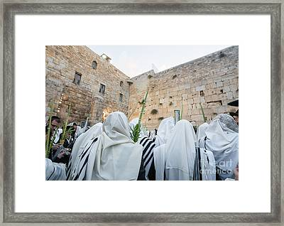 Jewish Sunrise Prayers At The Western Wall, Israel 10 Framed Print
