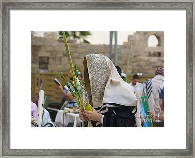 Jewish Sunrise Prayers At The Western Wall, Israel 7 Framed Print