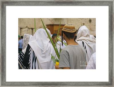 Jewish Sunrise Prayers At The Western Wall, Israel 8 Framed Print