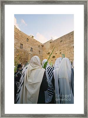 Jewish Sunrise Prayers At The Western Wall, Israel 9 Framed Print