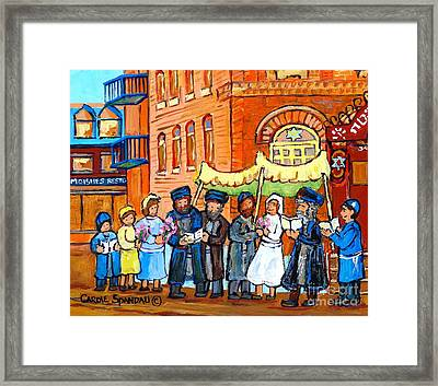 Jewish Wedding Under The Chupa Montreal Street Scene Bagg Synagogue Canadian Art Carole Spandau      Framed Print