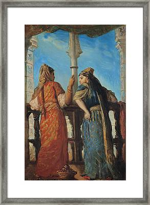 Jewish Women At The Balcony In Algiers Framed Print