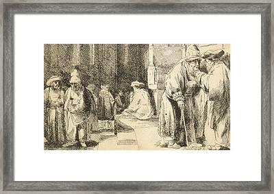 Jews In The Synagogue Framed Print