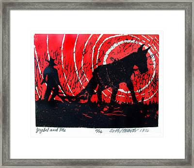 Framed Print featuring the relief Jezebel And Me by Seth Weaver