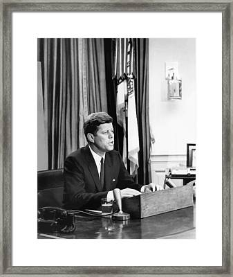 Jfk Addresses The Nation  Framed Print