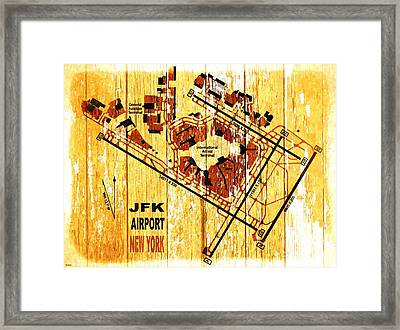 Jfk Airport Map Framed Print