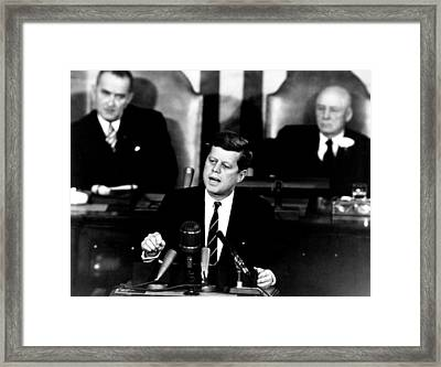 Jfk Announces Moon Landing Mission Framed Print