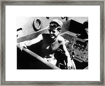 Jfk On Pt 109 Framed Print