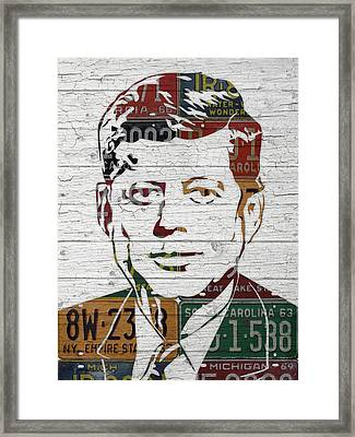 Jfk Portrait Made Using Vintage License Plates From The 1960s Framed Print