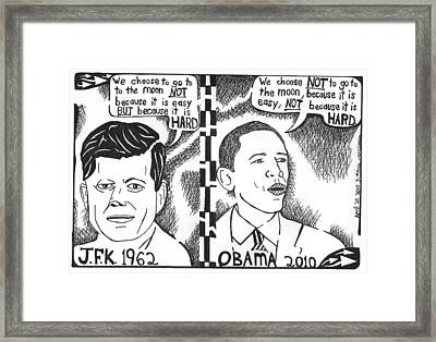 Jfk Vs Obama On Nasa Framed Print by Yonatan Frimer Maze Artist