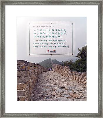 Jiankou To Mutianyu Leave Nothing Framed Print by Betsy Knapp