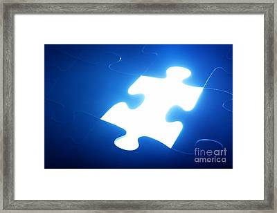 Jigsaw Puzzle Piece Missing Framed Print