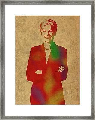 Jill Stein Green Party Political Figure Watercolor Portrait Framed Print by Design Turnpike