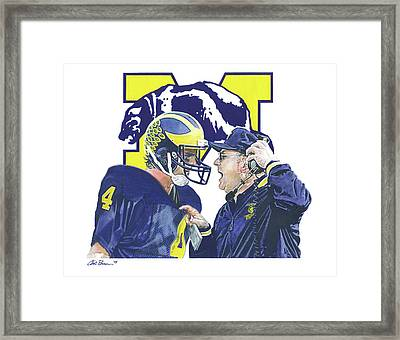 Jim Harbaugh And Bo Schembechler Framed Print
