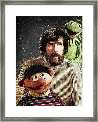 Jim Henson Together With Ernie And Kermit The Frog Framed Print