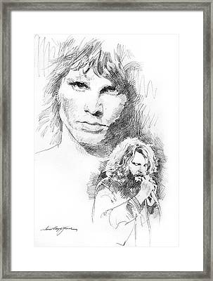 Jim Morrison Faces Framed Print by David Lloyd Glover