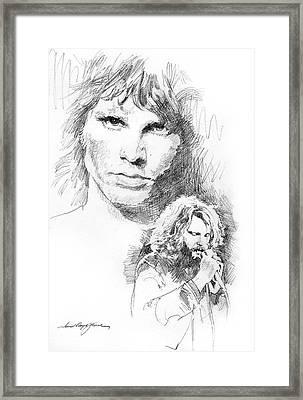 Jim Morrison Faces Framed Print by David Lloyd Glover