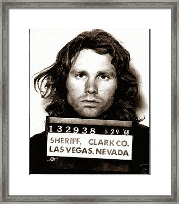 Jim Morrison Mug Shot 1968 Painting Sepia Framed Print by Tony Rubino