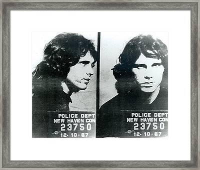 Jim Morrison Mug Shot Horizontal Framed Print by Tony Rubino