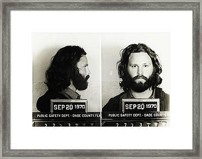 Jim Morrison Mugshot Framed Print by Bill Cannon