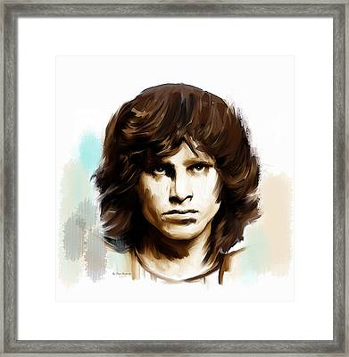 Framed Print featuring the painting Jim Morrison Stolen Dust by Iconic Images Art Gallery David Pucciarelli